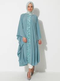 Nane yeşili - Yuvarlak yakalı - Astarsız kumaş - Elbise