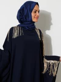 Altın - Lacivert - Yuvarlak Yaka - Astarsız Kumaş - Elbise