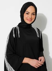 Gümüş - Siyah - Yuvarlak yakalı - Astarsız kumaş - Elbise