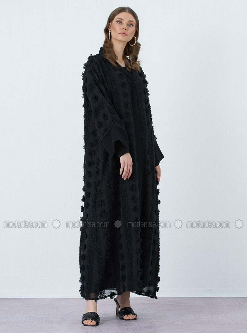Black - Fully Lined - V neck Collar - Abaya