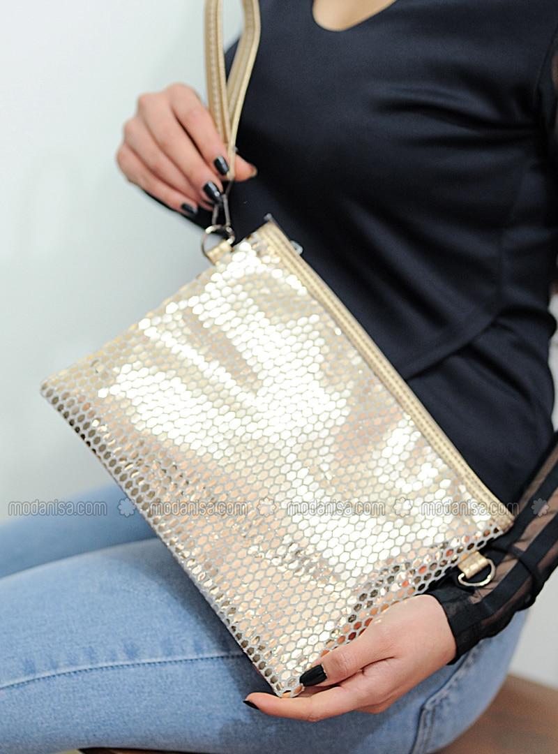 Gold - Satchel - Clutch Bags / Handbags
