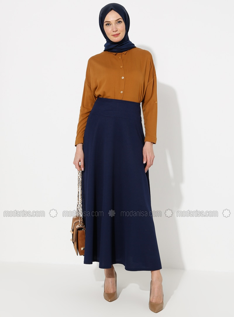 Navy Blue - Half Lined - Skirt