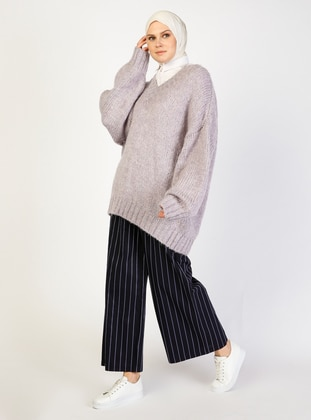 Navy Blue - Stripe -  - Pants - ziwoman