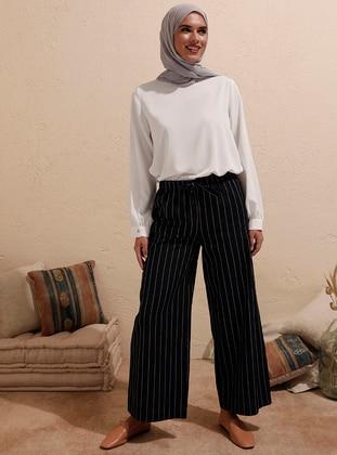 Navy Blue - Stripe - - Pants - ziwoman