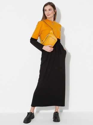 Mustard - Black - Crew neck - Unlined -  - Dress