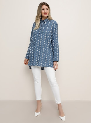 Indigo - Multi - Point Collar - Plus Size Tunic