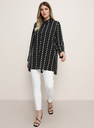 Black - Multi - Point Collar - Plus Size Tunic