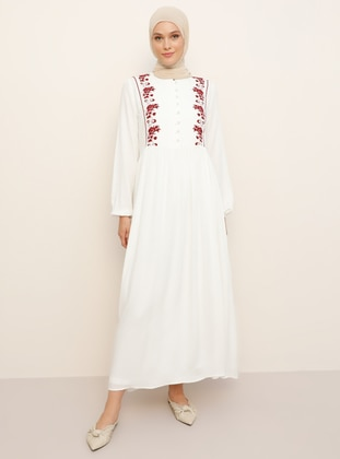 White - Maroon - Crew neck - Fully Lined - Viscose - Dress