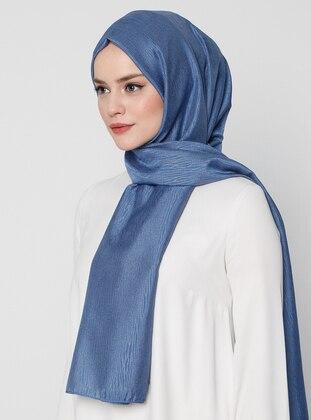 Blue - Plain - Jacquard - Shawl