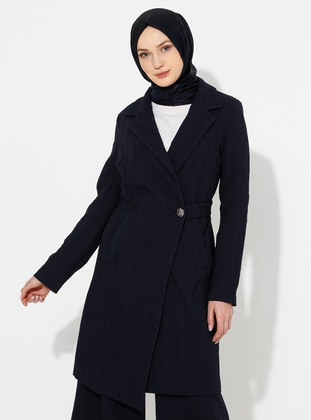 Navy Blue - Unlined - V neck Collar - Topcoat - ziwoman