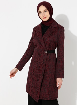 Plum - Unlined - V neck Collar - Topcoat - ziwoman