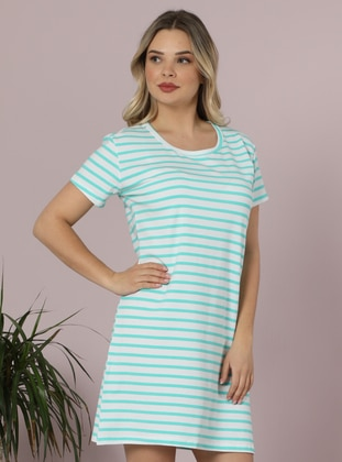 White - Sea-green - Stripe - Crew neck -  - Nightdress