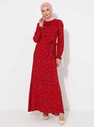 Fuchsia - Multi - Crew neck - Unlined -  - Dress - ziwoman