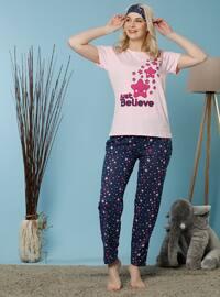 Pink - Crew neck - Multi -  - Pyjama Set