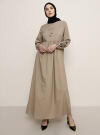 Vizon - Yuvarlak yakalı - Astarsız kumaş - Elbise