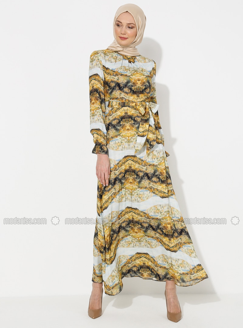 Mustard - Multi - Crew neck - Unlined - - Dress - ziwoman