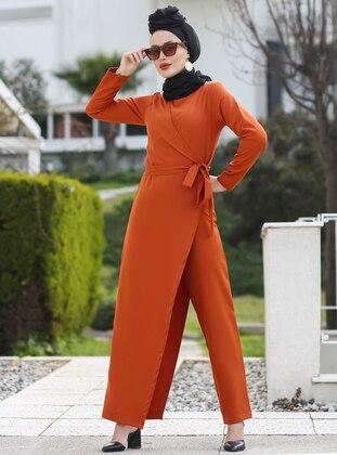 Terra Cotta - Unlined - Crew neck - Acrylic -  - Jumpsuit