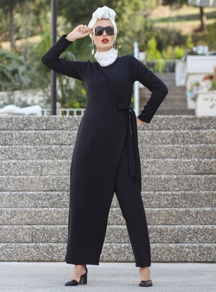 Black - Unlined - Crew neck - Acrylic -  - Jumpsuit