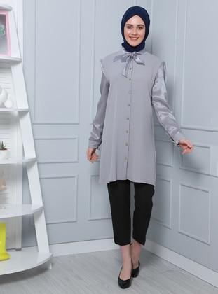 Gray - Shawl Collar - Tunic