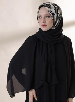 Beige - Black - Plain - Instant Scarf