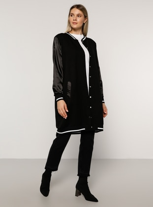 Ecru - Black - Unlined - Crew neck -  - Plus Size Coat