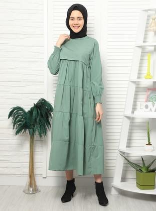 Green - Crew neck - Unlined -  - Dress