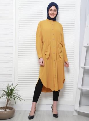 Yellow - Unlined - Crew neck - Topcoat