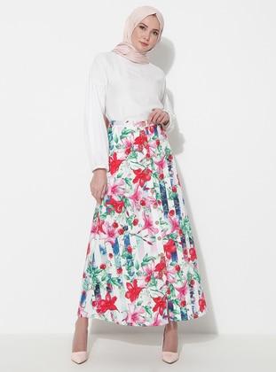 Fuchsia - Navy Blue - Unlined - Skirt