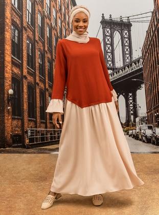 Color Block Dress - Tile Beige