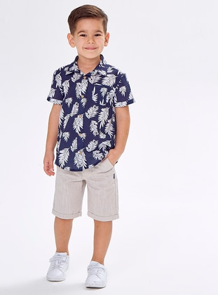 Multi - Point Collar -  - Navy Blue - Boys` Shirt - Wonder Kids