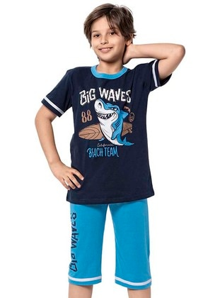 Crew neck -  - Blue - Boys` Suit