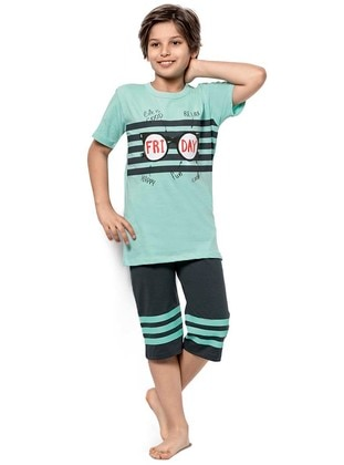 Crew neck -  - Anthracite - Mint - Boys` Suit