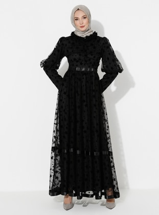 Black - Multi - Polo neck - Fully Lined - Dress