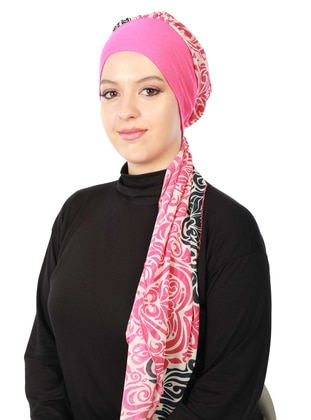 Fuchsia - Printed - Combed Cotton - Instant Scarf