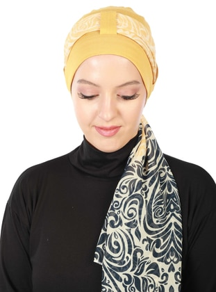 Mustard - Printed - Combed Cotton - Instant Scarf