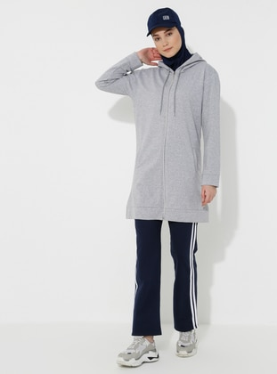 Gray - Navy Blue -  - Tracksuit Set