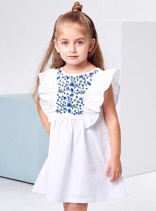 Crew neck -  - Fully Lined - White - Blue - Girls` Dress