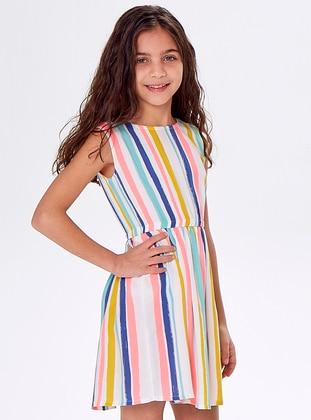 Stripe - Crew neck - Viscose - Multi - Girls` Dress