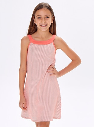 Stripe - Crew neck -  - Red - Girls` Dress
