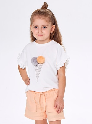 Crew neck -  - Ecru - Girls` Suit