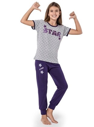 Multi - Crew neck -  - Purple - Plum - Girls` Suit