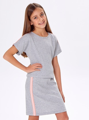 Crew neck - Viscose - Gray - Multi - Girls` Suit