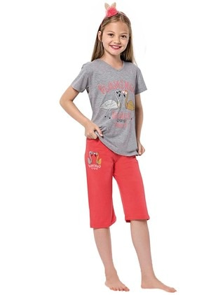 Crew neck -  - Gray - Coral - Girls` Suit