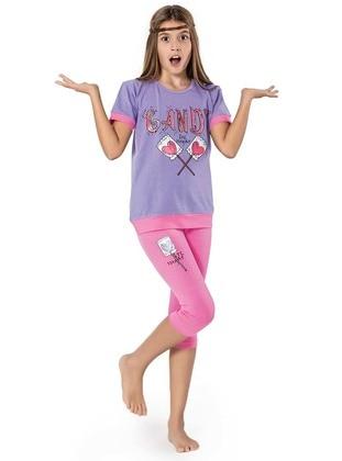 Crew neck -  - Purple - Rose - Girls` Suit
