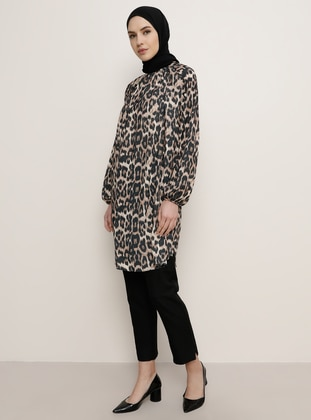 Brown - Leopard - Leopard - Crew neck - Tunic