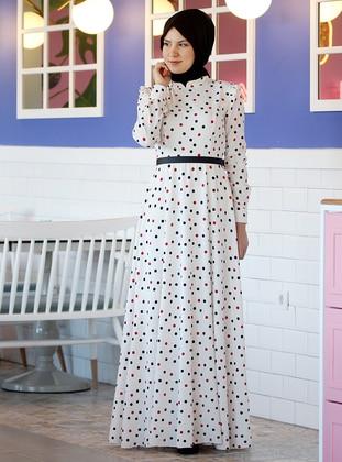 White - Unlined - Crew neck -  - Muslim Evening Dress