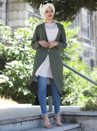 Khaki - Shawl Collar - Cardigan
