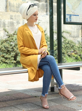 Yellow - Shawl Collar - Cardigan