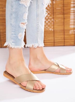 Gold - Gold - Sandal - Gold - Sandal - Slippers - Ayakkabı Havuzu