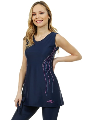 Navy Blue - Unlined - Half Covered Switsuits - Emayo